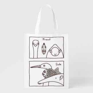 < Front face (brown) > Front & side view of faces Reusable Grocery Bag