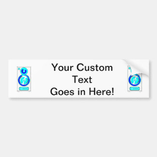 Front Facing Blue and White Single Speaker Graphic Bumper Sticker