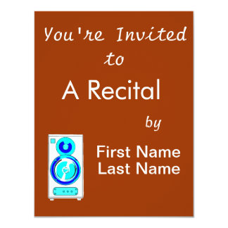 Front Facing Blue and White Single Speaker Graphic 4.25x5.5 Paper Invitation Card