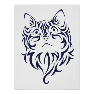 Front Facing Cat Kitten Face Stencil Poster