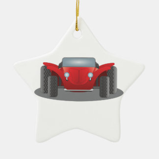 Front-Facing Red and Black Dune Buggy Ceramic Star Decoration