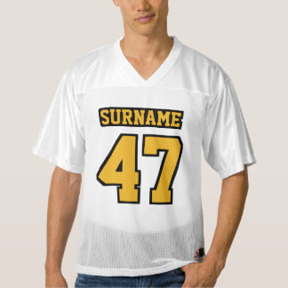 Front GOLD BLACK WHITE Mens Football Jersey