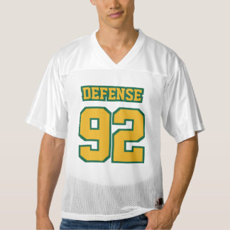 Front GOLD GREEN WHITE Mens Football Jersey