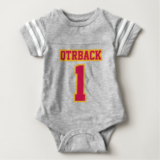 Front GRAY CRIMSON GOLD Crewneck Football Outfit Baby Bodysuit