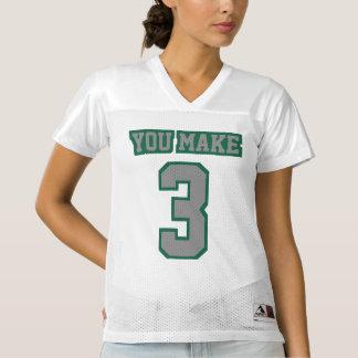 Front GREY DARK GREEN WHITE Womens Sports Jersey
