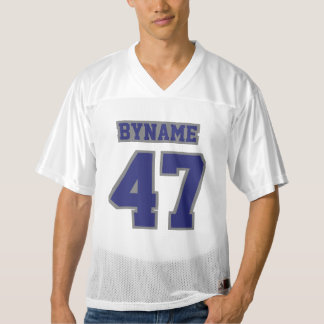 Front NAVY BLUE GREY WHITE Mens Football Jersey