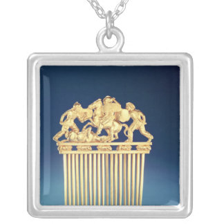 Front of a Scythian comb Silver Plated Necklace