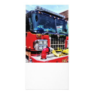 Front of Fire Truck With Hose Customized Photo Card