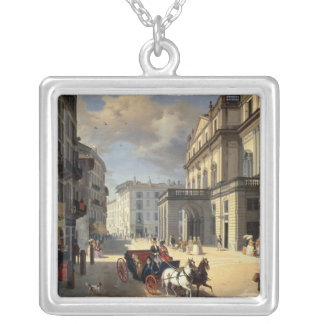 Front of La Scala Theatre, 1852 Silver Plated Necklace