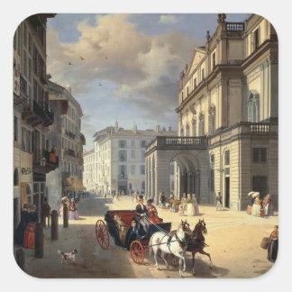 Front of La Scala Theatre, 1852 Square Sticker