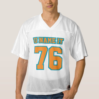 Front ORANGE TEAL WHITE Mens Football Jersey