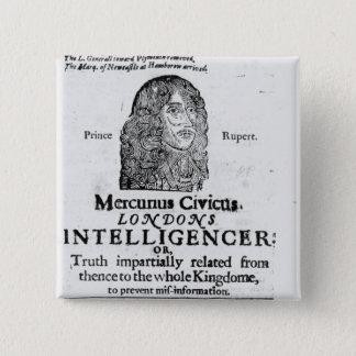 Front page from 'Mercurius Civicus' 15 Cm Square Badge