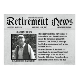 Front Page Newspaper Retirement Party Invitation
