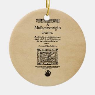 Front Piece to A Midsummer Nights Dream Quarto Christmas Ornament