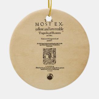 Front Piece to Romeo & Juliet Quarto (1599) Christmas Ornament