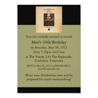 Front Piece to Shakespeare's First Folio 13 Cm X 18 Cm Invitation Card