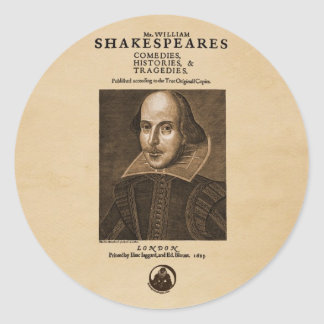 Front Piece to Shakespeare's First Folio Classic Round Sticker
