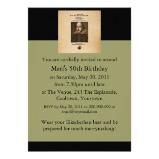 Front Piece to Shakespeare's First Folio Custom Invitation