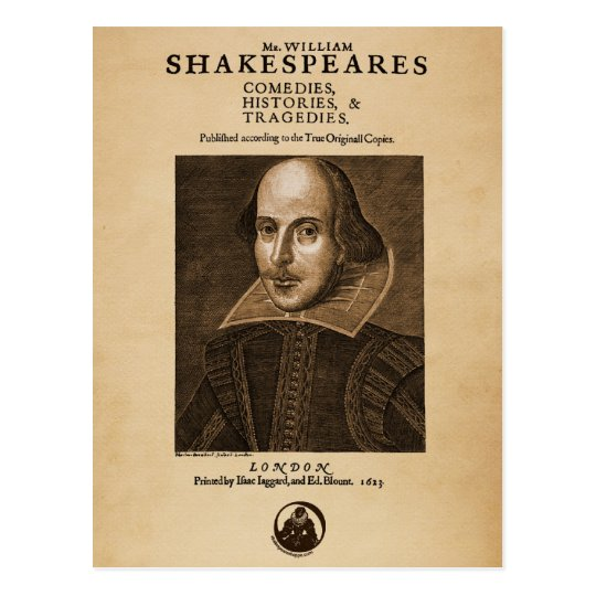 Front Piece to Shakespeare's First Folio Postcard