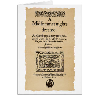 Front Piece to the A Midsummer Nights Dream Quarto Card
