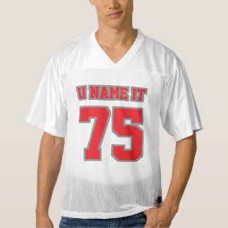 Front RED GREY WHITE Mens Football Jersey