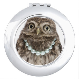 Front view of a Young Little Owl Travel Mirrors
