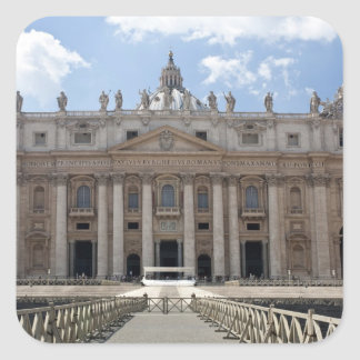 Front view of St. Peter's Basilica, Vatican. Square Sticker