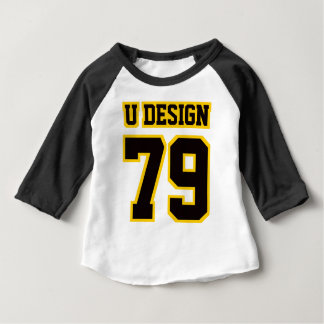 Front WHITE BLACK GOLD 3/4 Sleeve Raglan Baby T-Shirt