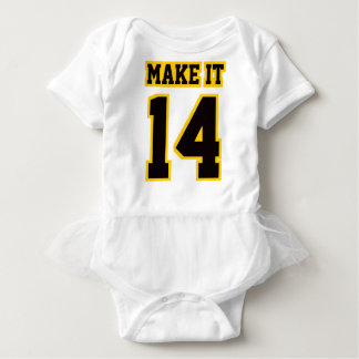 Front WHITE BLACK GOLD Tutu Football Jersey Baby Bodysuit