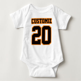 Front WHITE BLACK ORANGE Bodysuit Football Jersey