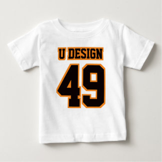 Front WHITE BLACK ORANGE Football Crewneck Tee