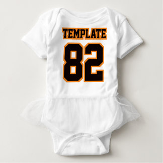 Front WHITE BLACK ORANGE Tutu Football Jersey Baby Bodysuit