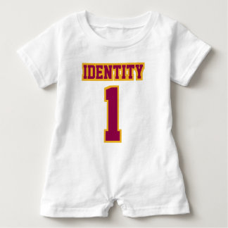 Front WHITE BURGUNDY GOLD Romper Football Jersey Baby Bodysuit