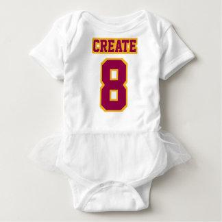 Front WHITE BURGUNDY GOLD Tutu Football Jersey Baby Bodysuit