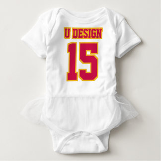 Front WHITE CRIMSON RED GOLD Tutu Football Jersey Infant Onesie