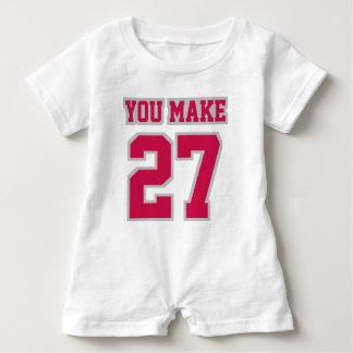 Front WHITE CRIMSON SILVER Romper Football Jersey Baby Bodysuit