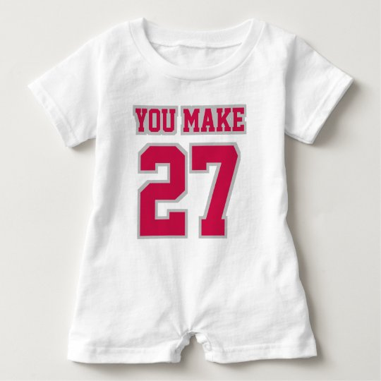 Front WHITE CRIMSON SILVER Romper Football Jersey Baby