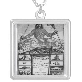Frontispiece by Thomas Hobbes  of Malmesbury Silver Plated Necklace
