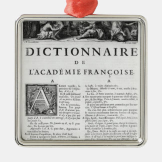 Frontispiece for the French Academy dictionary Christmas Ornament