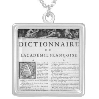 Frontispiece for the French Academy dictionary Silver Plated Necklace