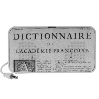 Frontispiece for the French Academy dictionary Notebook Speaker