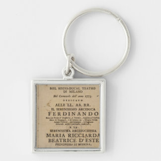 Frontispiece from Mozart's 'Lucio Silla' Silver-Colored Square Key Ring