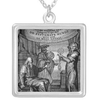 Frontispiece of 'Dialogus De Systemate Mundi' Silver Plated Necklace
