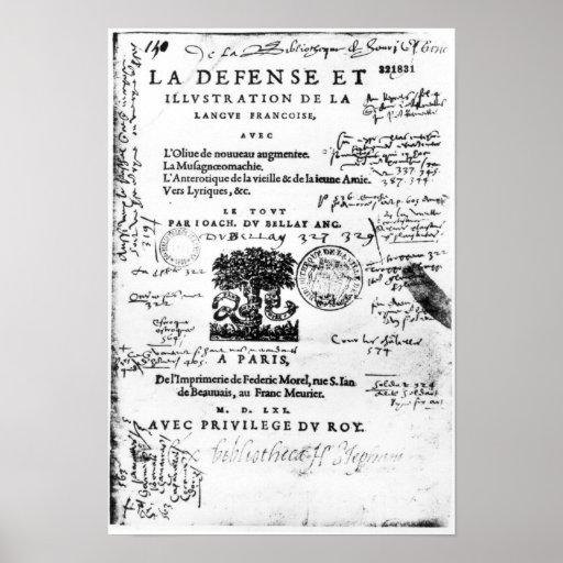 Frontispiece of 'La Defence et Illustration Poster