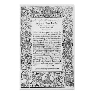 Frontispiece to a Roman Calendar, 1591 Poster