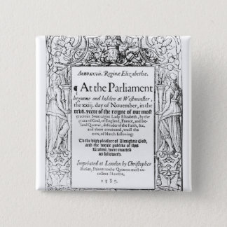 Frontispiece to an account of parliament 15 cm square badge