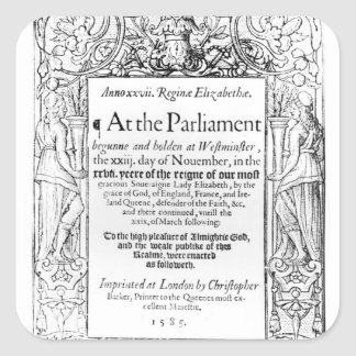 Frontispiece to an account of parliament square stickers