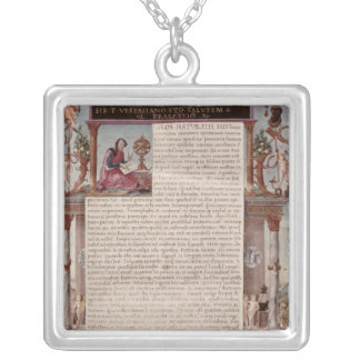 Frontispiece to Book I showing a page of text Square Pendant Necklace
