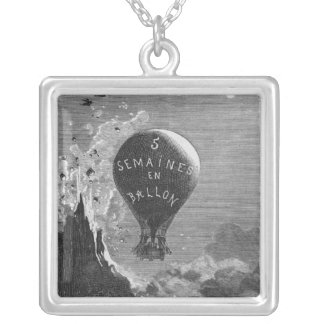 Frontispiece to 'Five Weeks in a Balloon' Silver Plated Necklace