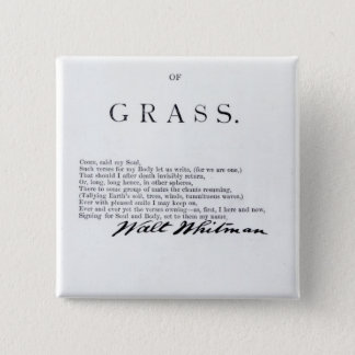 Frontispiece to 'Leaves of Grass' 15 Cm Square Badge